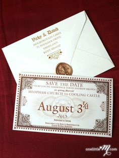 Hogwarts Express Ticket save the dates! these make me want a Harry Potter inspired wedding SO bad Hogwarts Express Ticket save the dates! these make me want a Harry Potter inspired wedding SO bad! Wedding Party Invites, Wedding Invitation Envelopes, Elegant Wedding Invitations, Wedding Themes, Birthday Invitations, Wedding Ideas, Wedding Inspiration, Shower Invitations, Wedding Parties