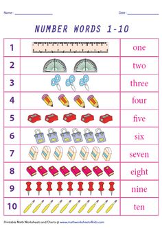 Learning number names has never been so easy using these printable charts. Number names charts are available for 1 to 1 to 1 to 1 to 50 and more. First Grade Math Worksheets, Printable Math Worksheets, Printable Numbers, Number Worksheets, 1st Grade Math, Number Spelling, Number Words, Counting Activities, Kids Learning Activities