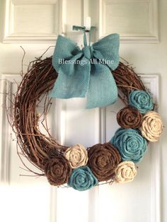 18 inch Grapevine Wreath Burlap Brown Neutral Teal Turquoise Spring, Summer, Fall, Autumn, Winter Wreath Wedding, Bridal Shower Decor Bridesmaids Gifts by BlessingsAllMine