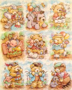 Vintage Adorable Bears sticker sheet by Gibson - Hugglesbie