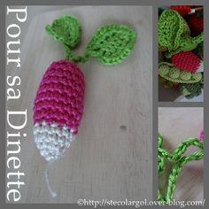 Fournitures : crochet N°2,5 (comme toujours, au dessus, votre dinette sera trop grosse), coton à tricoter en 2,5/3,5. Aiguille pour rentrer les fils. Crocheter un Radis Free English Pattern Here : Crochet Radish NyanPon's Knits and Crochet Le Radis :...