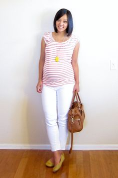 coral + yellow + neutrals (maternity style)