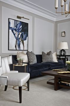 House Interior Design Ideas - Motivational Interior Decoration Ideas for Living Space Style, Bed Room Design, Cooking Area Style and also the whole home. Navy Living Rooms, Art Deco Living Room, Glam Living Room, Classic Living Room, Living Room Modern, Living Room Sofa, Living Room Interior, Home Interior Design, Cozy Living