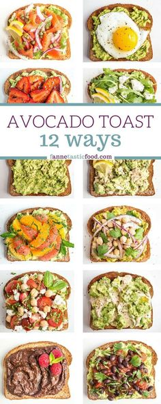 Mix and match avocado toast recipes – includes savory and sweet options. Great filling and healthy breakfast, lunch, or snack! Mix and match avocado toast recipes – includes savory and sweet options. Great filling and healthy breakfast, lunch, or snack! Healthy Breakfast Recipes, Vegetarian Recipes, Cooking Recipes, Healthy Breakfasts, Healthy Brunch, Healthy Snacks Savory, Brunch Food, 30 Min Healthy Meals, Filling Healthy Foods