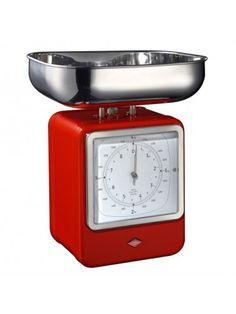 Wesco Retro Scales With Clock - Red