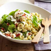 Greek Spinach Pasta Salad with Feta and Beans