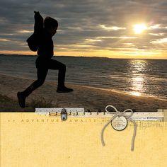 Adventure Awaits - #sunset #scrapbook page created with products from DesignerDigitals.com #shopDesignerDigitals