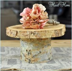 DIY Rustic Wood Cake Stand - All Things Heart and Home
