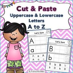 These Uppercase and Lowercase activities are perfect for kindergarten and preschool students learning the letters in the alphabet. They will cut and paste the correct lowercase letters with the uppercase ones! Use for morning work, seat work, word work, Alphabet Writing, Alphabet Crafts, Alphabet Activities, Preschool Activities, Preschool Printables, First Grade Phonics, Kindergarten Phonics, Literacy, Alphabet Practice Sheets