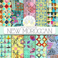 """Moroccan digital paper: """" NEW MOROCCAN"""" with colorful moroccan pattern, damask, mosaic for planners, scrapbooking, cards, invitations #moroccan #yellow #blue #digitalpaper #scrapbookpaper #planner #partysupplies"""