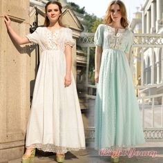 Vintage Women Maxi Lace Chiffon Boho Formal Party Ball Embroidery Evening Dress #other #BallGown #SummerBeach