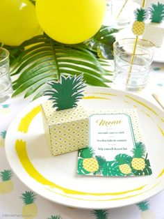 Party Like a Pineapple Tropical Birthday Party - ideas on DIY decorations, dinner party food, drinks, printables and favors for a tropical summer celebration! Straw Decorations, Dinner Party Decorations, Party Themes, Party Ideas, 25th Birthday Parties, Summer Birthday, Birthday Ideas, Happy Birthday, Printable Invitations