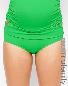 Bikinihöschen für Schwangere exklusiv bei ASOS Maternity Kollektion Stretchmaterial für Bademode tiefer Hüftschnitt umschlagbarer Taillenbund schmeichelhafter, bedeckend geschnittener Slip passt in allen Phasen der Schwangerschaft Handwäsche 80% Polyamid, 20% Elastan