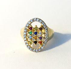 Breastplate of High Priest Twelve Tribes Judaica Jewish Hadassah Fine Jewelry Ring 18k Gold Layered Zirconia Gemstones Ref AN06 by HADASSAHjewelry on Etsy