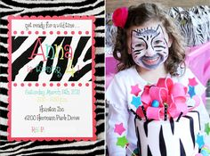 Black & White Zebra Print - paired with a fun palette of fuschia, turquoise & lime green - Invitation & Face Painting