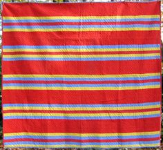 A Berks County, PA Bars Quilt in bright late 1800's calicos. Measures about 80 x 88 inches and dates from ca.1890's. Excellent condition, apparently unused.