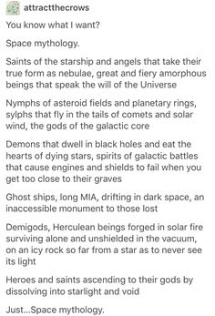 I like about half of this. I think the reason we don't have space-mythos is because space travel is so heavily associated with science that it hasn't much occurred to people to bring the mystic into the equation