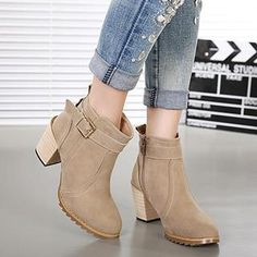 Buy 'Mancienne – Chunky Heel Buckled Ankle Boots' with Free International Shipping at YesStyle.com. Browse and shop for thousands of Asian fashion items from China and more!