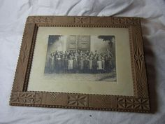 Antique German Tramp Art Folk Art Wood Picture Frame #D