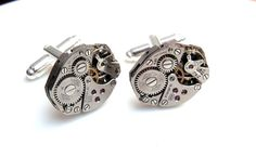 Steampunk Cufflinks - Vintage Watch Movement Cuff links. Fathers Day / Wedding. Wings, by Jamlincrow, £30.00