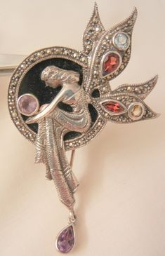 Offering Delightful Vintage Jewelry Treasures. Often rare pieces for those  who crave the unique  Outstanding sterling marcasite Gem Onyx Art Nouveau Style Fairy Brooch