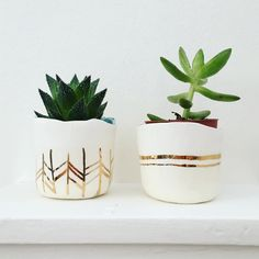 Pre-order: Ceramic & 22kt gold succulent planter, Large to small planter, apartment decor, plant holder, gold decor, minimalist ceramics by MarissaGrana on Etsy https://www.etsy.com/listing/270581513/pre-order-ceramic-22kt-gold-succulent