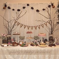 pink blue woodland baby shower decorations - Google Search