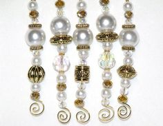 White and Gold Bead Icicle Ornaments - white Christmas decor - set of 5