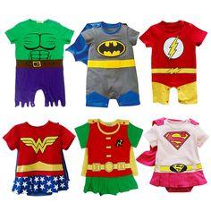Baby Costumes Superhero Infant Boys Girls Rompers Tollder Outfit Supergirl Superman Batman Flash Wonder Woman Hulk Robin Summer