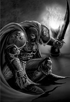 Konrad Curze - Warhammer Wiki - Space Marines, Chaos, planets, and Warhammer 40k Art, Warhammer 40k Miniatures, High Fantasy, Medieval Fantasy, Night Lords, The Horus Heresy, Gundam Wallpapers, Banner, Monochrom