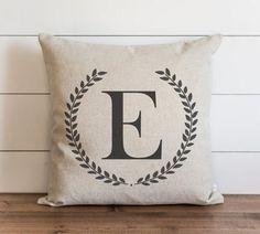 Laurel Wreath Monogram 20 x 20 Pillow Cover
