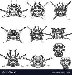 Set of samurai masks and helmets with swords on white background. Design elements for logo, label, emblem, sign. Samurai Mask Tattoo, Helmet Tattoo, Samurai Helmet, Samurai Warrior, Japanese Demon Tattoo, Japanese Tattoo Symbols, Japanese Tattoo Designs, Doodle Tattoo, Tattoo Drawings