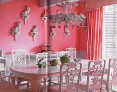 The Staffordshire Spaniels artuflly arranged on wall brackets, the white Chippendale chairs, the bunny and lettuce tureens on the table, I love it all (except that I would chose a color other than pink for the room). Dining in the Pink with Carleton Varney and Lilly Pulitzer