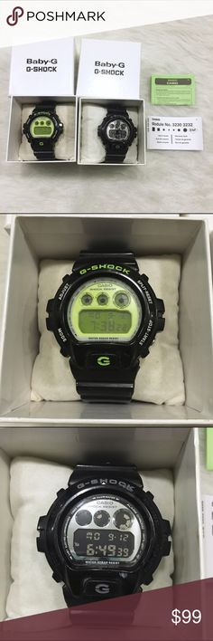Bundle of 2 Unisex G-Shock by Casio Watches Two G-Shock by Casio digital watches are in great condition - just a few scuffs. One with a neon green face, the other with a silver face. Working batteries on both. Resin bands with buckle closures. Stainless steel backings. Water resistant up to 20 BAR. 12/24 hour formats. Shock resistant. Comes with info booklet and Baby G boxes that Nordstrom gave at purchase. G-Shock Accessories Watches