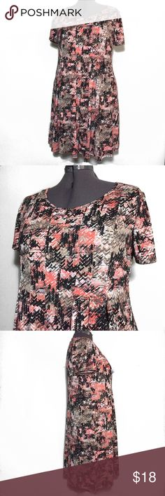 """NY Collection Women Multi Color Shift Dress 1X NY Collection Women Multi Color Shift Dress. Includes Coral, peach, brown, tan, black. Plus Size 1X measures flat approximately: 22"""" across chest, 22"""" across Waist, 38"""" across bottom, 39"""" long. 96% poly, 4% spandex. Very soft and stretchy material. Machine Wash. 309/100/031318 casual weekend wear layering spring summer NY Collection Dresses"""
