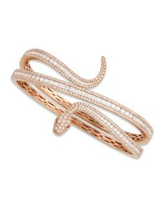 18k Rose Gold Diamond Snake Bangle by Roberto Coin at Neiman Marcus.