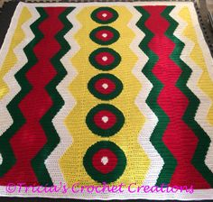 """Outrageous Fortune Afghan  This colorful afghan measures 56"""" x 63"""".   This one was a special order for someone who wanted Christmas colors. I think it's lovely.   https://www.etsy.com/listing/263306572/outrageous-fortune-afghan"""