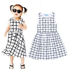Retail Summer Girl Plaid Dress High Quality Grid Pattern Sleeveless Kids Dresses Plaid Printed Baby Girls Clothes vestido menina