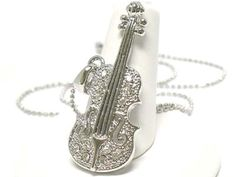 New White Gold Plated Crystal Detailed Violin Music Theme Strings Charm Necklace