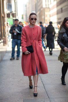 Olivia Wilde staying fashionably warm in Calvin Klein at #NYFW Fall 2013  Photo via Harper's Bazaar