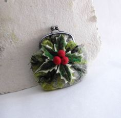 Wet Felted HOLLY with BERRY coin purse Ready to Ship ♥ by MSbluesky, $56.00