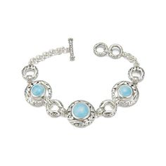 "MarahLago - Larimar Miro Bracelet in Sterling Silver - Sparkle like the Caribbean Sea! MarahLago, the first name in Larimar jewelry, matches elegance with style in this shining sterling silver and Larimar bracelet. Bracelet measures 7"" long and has a trendy toggle closure. Larimar Jewelry, Tropical Style, Love Bracelets, Jewlery, Most Beautiful, Sparkle, Caribbean Sea, Sterling Silver, Stone"