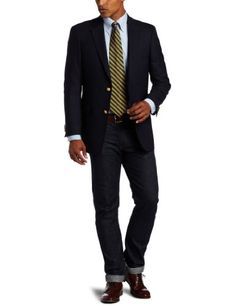 Tommy Hilfiger Men's Button Vent Trim Fit Blazer, Navy, 38 Regular