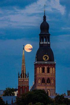Super moon over Riga