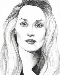 $20 Meryl Streep portrait, pencil drawing