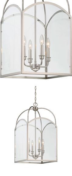 Glamorous Garrett from Savoy House brings structured lantern style to any home. This 4-light foyer light features clear glass panes, metal candle covers and a polished nickel finish.