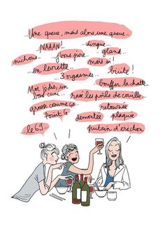 Margaux Motin. Diner entre filles. French Illustration, Paris Illustration, Character Illustration, Drawing Cartoon Characters, Cartoon Drawings, Bad Mom, Lol, How To Speak French, Girls Life