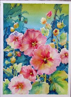 Original art by artist  Celeste McCall - Decorative Art Style Hollyhocks | ARTchat - Porcelain Art Plus (formerly Chatty Teachers & Artists)