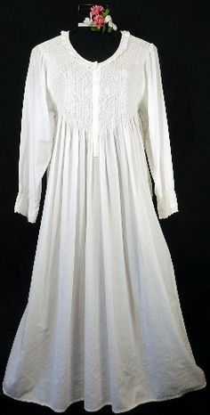 107 Longsleeve Smocked Gown-longsleeve long sleeve white cotton 100% nightgown gown lawn cotton