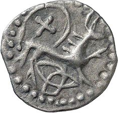 Silver early penny, depicting the lion of Northumbria, with a cross and triquetra (symbol of Christian Holy Trinity), made during the reign of King Æthelred I of Northumbria (774-9). (De Wit Collection/Fitzwilliam Museum)